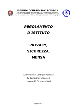 Privacy, Sicurezza, Mensa
