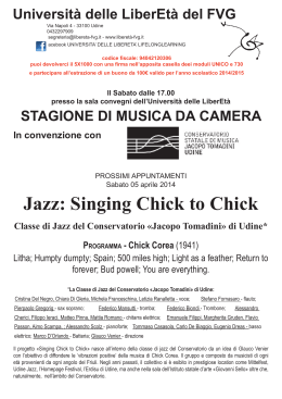 Jazz: Singing Chick to Chick - Università delle LiberEtà FVG