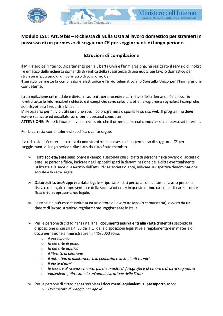 Modulo LS1 : Art. 9 bis – Richiesta di Nulla Osta al lavoro domestico
