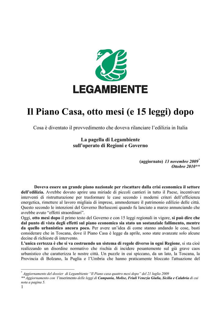 Dossier Piano Casa Legambiente