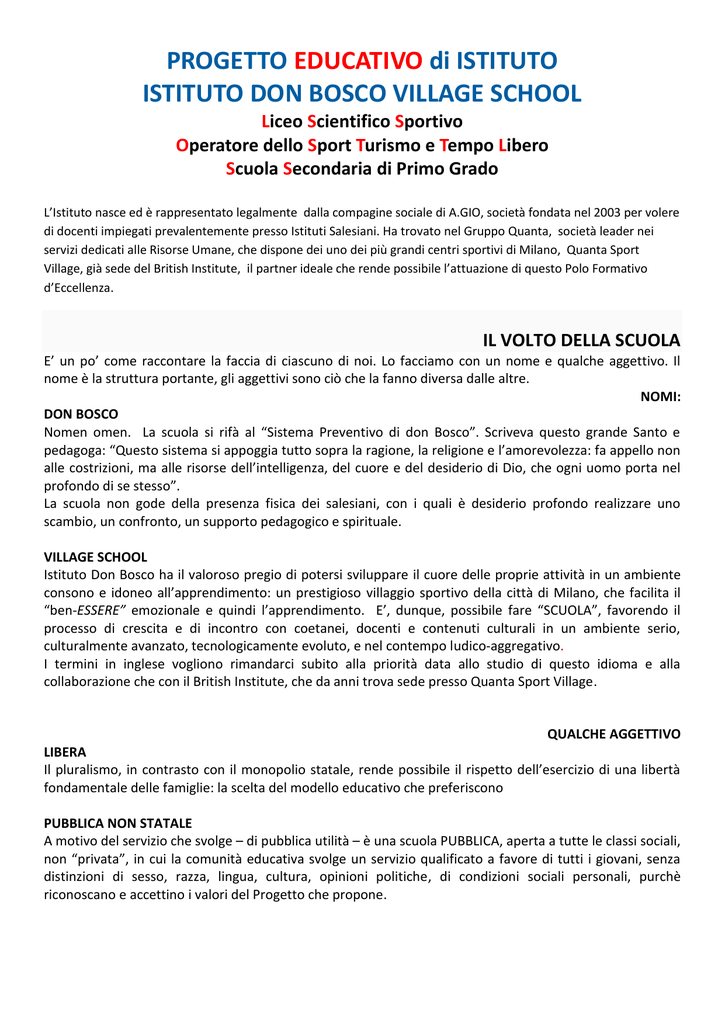 PROGETTO EDUCATIVO Di ISTITUTO ISTITUTO DON BOSCO